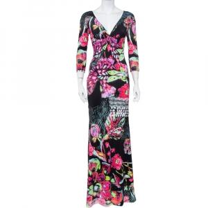 Roberto Cavalli Black Printed Knit Draped Neck Detail Maxi Dress S - used