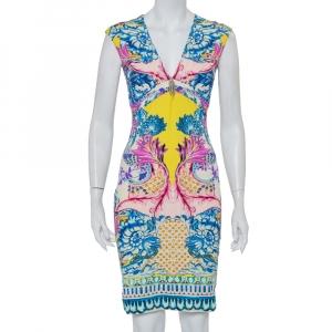 Roberto Cavalli Multicolor Knit Draped V-Neck Sheath Dress S - used