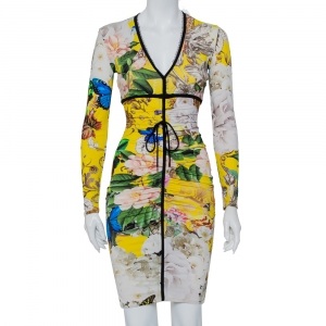 Roberto Cavalli Yellow Floral Printed Knit Ruched V-Neck Dress S