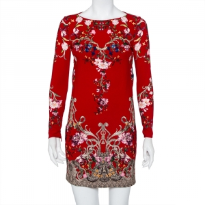 Roberto Cavalli Red Floral Printed Silk Open Back Detail Sheath Dress S