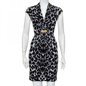 Roberto Cavalli Black & Grey Animal Printed Draped Waist Detail Mini Dress S - used