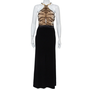 Roberto Cavalli Black Knit Animal Printed Trim Detail Halter Neck Maxi Dress L