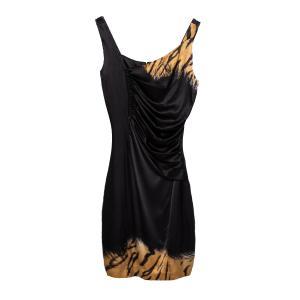 Roberto Cavalli Black Printed Satin Draped Sleeveless Mini Dress M - used