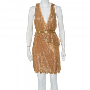 Roberto Cavalli Gold Bead Embellished Silk Overlay Belted Detail Mini Dress S - used