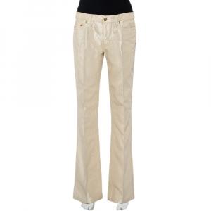 Roberto Cavalli Lurex Gold Denim Straight Leg Jeans XL
