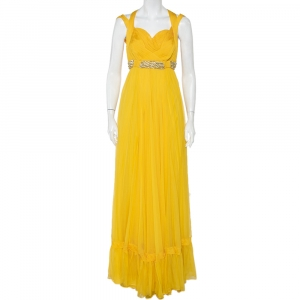 Roberto Cavalli Yellow Pleated Silk Embellished Waist Detail Gown M - used