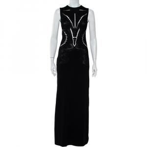 Roberto Cavalli Black Floral Jacquard Knit Slit Detail Maxi Dress S - used