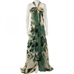 Roberto Cavalli Green & Cream Silk Bustier Detail Halterneck Gown M - used