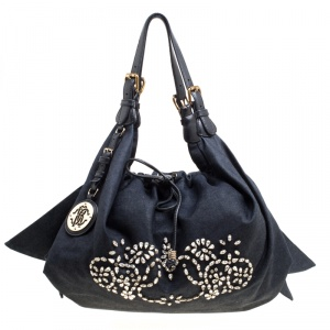 Roberto Cavalli Dark Blue Denim Crystal Embellished Drawstring Hobo