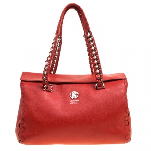 Roberto Cavalli Red Leather Small Regina Satchel