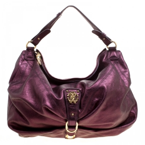 Roberto Cavalli Purple Leather Hobo