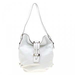 Roberto Cavalli White Leather Hobo