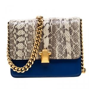 Roberto Cavalli Beige/Blue Leather and Python Hera Crossbody Bag