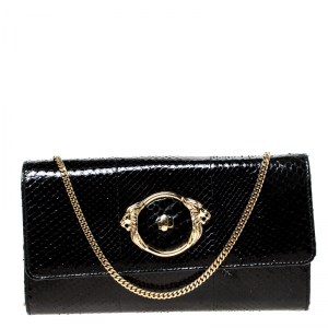Roberto Cavalli Black Python Turnlock Flap Chain Clutch