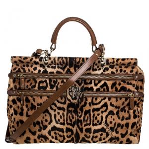Roberto Cavalli Brown Leopard Print Calfhair and Leather Grande Diva Satchel