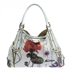 Roberto Cavalli White Floral Print Canvas and Leather Hobo