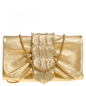 Roberto Cavalli Metallic Gold Leather and Croc Embossed Leather Chain Clutch