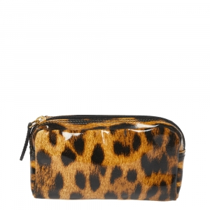 Roberto Cavalli Brown Leopard Print Patent Leather Pouch