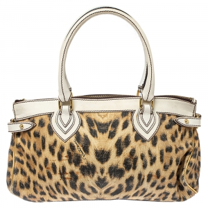 Roberto Cavalli Multicolor Printed Straw and Leather Zip Tote
