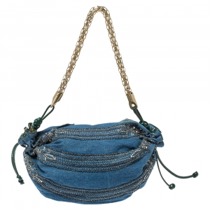 Roberto Cavalli Blue/Green Denim and Patent Leather Embellished Chain Hobo