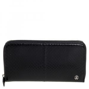 Roberto Cavalli Black Snakeskin Zip Around Wallet