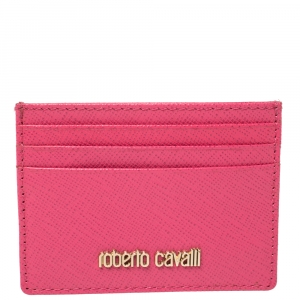 Roberto Cavalli Pink Leather Logo Card Case