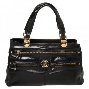 Roberto Cavalli Black Glazed Leather RC Logo Tote
