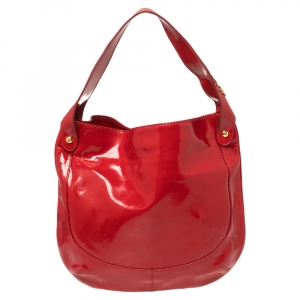 Roberto Cavalli Red Patent Leather Logo Hobo