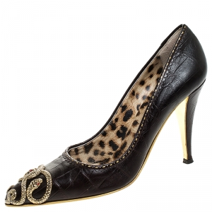 Roberto Cavalli Brown Embossed Leather Snake Embellished Pointed Toe Pumps Size 38