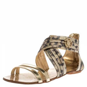 Roberto Cavalli Gold Leopard Print Criss Cross Shimmer Fabric and Leather Crystal Embellished Logo Flat Sandals Size 37