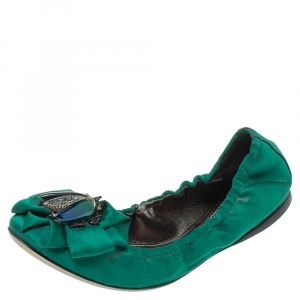 Roberto Cavalli Green Satin Bee Embellished Scrunch Ballet Flats Size 38