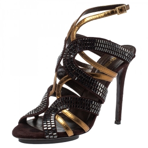 Roberto Cavalli Brown/Gold Leather And Suede Crystal Embellished Ankle Strap Sandals Size 38.5