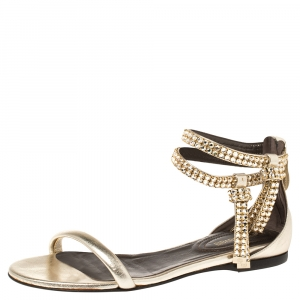 Roberto Cavalli Gold Leather Crystal Embellished Ankle Strap Flat Sandals Size 36 - used
