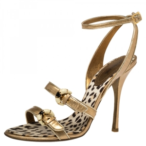 Roberto Cavalli Gold Patent Leather Buckle Detail Ankle Wrap Sandals Size 39