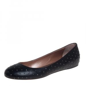 Robert Cavalli Black Leather Studded Ballet Flats Size 38