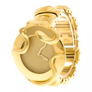 ساعة يد نسائية روبرتو كافالي ثعبان ستانلس ستيل مطلية ذهب كريمية 37 مم