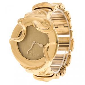 ساعة يد نسائية روبرتو كافالي SWL006-07451  ثعبان ستانلس ستيل مطلية ذهب كريمية 37 مم