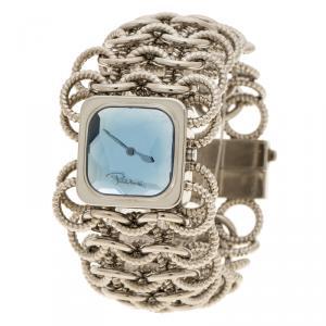 ساعة يد نسائية روبرتو كافالي سلسلة ومفصلات ستانلس ستيل زرقاء 24 مم