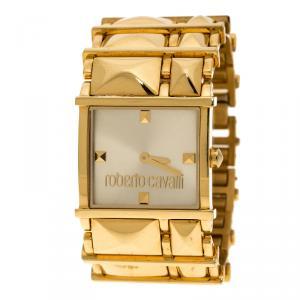 ساعة يد نسائية روبرتو كافالي ستانلسستيل مطلي ذهبي مستطيلة 27 مم