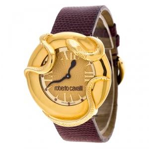 ساعة يد نسائية روبرتو كافالي ثعبان 7251165528 ستانلس ستيل مطلي ذهب 38 مم