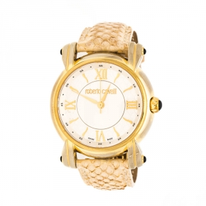 Roberto Cavalli Silver White Dial Gold Plated Stainless Steel 7251172515 Women's Wristwatch 40 mm