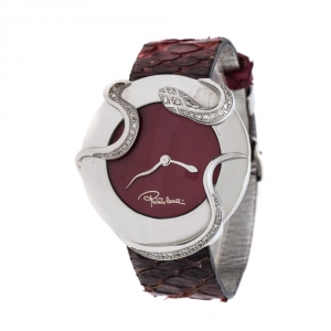 Roberto Cavalli Maroon Stainless Steel Diamonds Snake 7251165523 Women's Wristwatch 38 mm