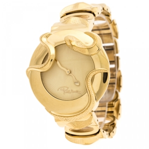 Roberto Cavalli Yellow Gold Plated Stainless Steel Snake Women's Wristwatch 37 mm