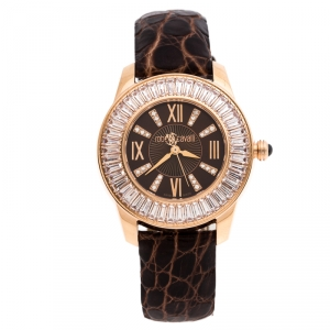 Roberto Cavalli Brown Gold-Plated Stainless Steel Crystal Fugit Women's Wristwatch 36MM