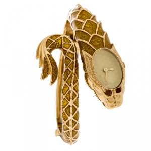 Roberto Cavalli Yellow Gold Plated Stainless Steel Eva Snake 7253126017 Women's Wristwatch 18 mm