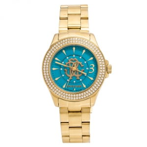 Roberto Cavalli by Franck Muller Aqua Blue Yellow Gold tone Stainless Steel 1L002 Women's Wristwatch 37 mm