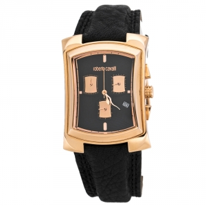 Roberto Cavalli Black Rose Gold Plated Stainless Steel Tomahawk R7251900125 Unisex Wristwatch 31 mm