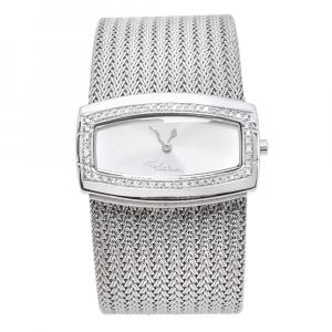 Roberto Cavalli Silver Stainless Steel Diamond Ellisse R72533114515 Women's Wristwatch 40 mm