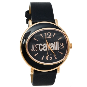 Just Cavalli Black Gold Tone Stainless Steel & Leather R7251186525 Women's Wristwatch 42 mm