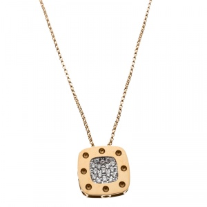 Roberto Coin Pois Moi Diamond 18k Yellow Gold Square Pendant Necklace